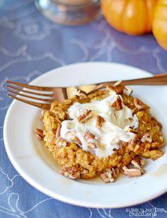 Baked Pumpkin Pie Oatmeal!! Perfect Fall Breakfast! THM E