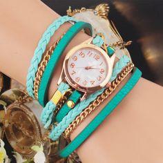 Nueva moda Vintage Retro Colorful Multilayer imitación de cuero correa Band Wrap cuarzo de la pulsera del reloj mujer(China (Mainland))