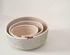 Coil rope basket Breakfast basket Powder room decor Natural