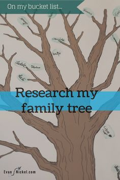 On my bucket list: Research my family tree