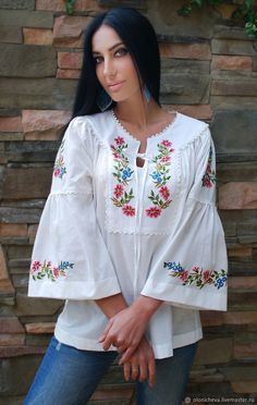 Buy and order A charming white blouse with hand embroidery the Gentle bloom on Livemaster online shop Shipped over Russia and the CIS Production time 1 month br Materials batiste cotton hand embroidery Dimensions under the order taking into account Embroidery Neck Designs, Embroidery Patterns, Hand Embroidery, Fashion Wear, Boho Fashion, Fashion Dresses, Kurti Neck Designs, Blouse Designs, Estilo Hippie