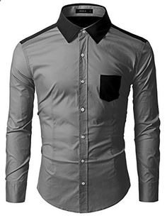 Doublju Mens Classic Regular Fit Lightweight Button Down Long Sleeve Color Block Casual Shirt GRAYBLACK,L  Go to the website to read more description.