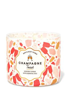 Champagne Toast 3-Wick Candle | Bath & Body Works Bath Candles, 3 Wick Candles, Scented Candles, Essential Oil Candles, Natural Essential Oils, Champagne Toast, Bath And Body Works, Wicked, Bubbles