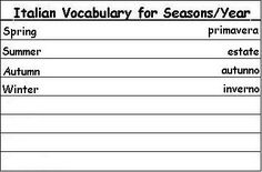 Italian Vocabulary Words for Seasons of the Year - Learn Italian