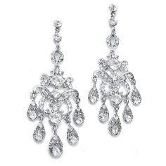 """Linear Chandelier Earrings with Crystal Teardrops  3"""" long  $31"""