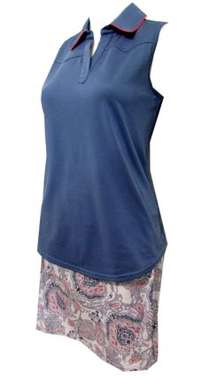 Need new golf apparel? JoFit Ladies takes pride in offering women's golf clothing for all shapes and sizes. Buy this Dixie (Indigo) JoFit Ladies & Plus Size Golf Outfits (Shirt & Skort) today from Lori's Golf Shoppe!