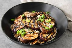 Featuring Japanese eggplant in an umami-rich soy sauce, ginger and miso sauce, this delicious dish may be prepared on a stove-top grill pan or outdoor barbeque.