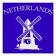 Poster Netherlands, moulin à vent