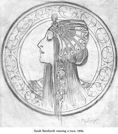 Sarah Bernhardt pencil study by Alphonse Mucha Art Nouveau Mucha, Alphonse Mucha Art, Art Nouveau Illustration, Art Deco, Art Drawings, Pencil Drawings, Art History, Illustrators, Coloring Pages