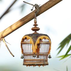 "WOOD BIRD CAGE BAMBOO SMALL VINTAGE 7""x14"""