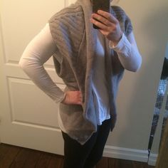 "Anthropologie Gray Knit Shawl Sweater Vest Cozy knit shawl sweater vest, rarely worn, like new condition. Angel of the North purchased at Anthropologie. Size ""S/M""! Anthropologie Sweaters Shrugs & Ponchos"