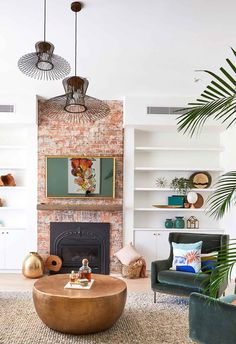 **Week Formal Lounge** For [formal living room week] Andy and Deb sought to make the fireplace th Brick Feature Wall, Feature Wall Living Room, Living Room Red, Living Room With Fireplace, Formal Living Rooms, Living Area, Red Brick Fireplaces, Timber Battens, Brick Interior