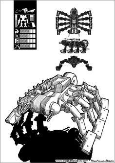 Cs&Cs wordless webcomic page 90. #webcomic #comicbook #manga #mecha #gundam #zoids #transformers #mecg #robot #dieselpunk #spider #arachnid #clank #toptrumps #starwars #tmnt #rocketraccoon