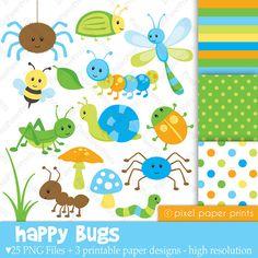Happy Bugs  Clip Art and Digital Paper Set by pixelpaperprints, $5.00