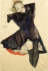 エゴン・シーレ 「青いドレスの少女 」 1911 47.8 x 31.7 cm
