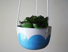 Turquoise Cloud Hanging Planter - whimsical ceramics and pottery from Montreal, Canada - succulent and herb pot - indoor outdoor - scalloped