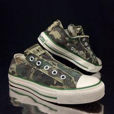 bab1c8d8e2ff Converse Womens All Star Camo Trainers Green sz 4 36.5 US 6 Boys VTG Army  Shoes