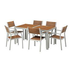 SJÄLLAND Bord + 6 stoler m armlener, utend IKEA Stolen er enkel å oppbevare når den ikke er i bruk siden du kan stable opptil 6 stoler oppå hverandre.