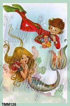 MeRbAbY FaBrIc Vintage Postcard Baby Mermaid by QUILTFABRICBLOCKS, $6.00