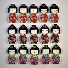 Love these cute wooden Japanese Kimono Doll buttons...perfect for a special craft project!!! #crochet #crochetersofinstagram #knittersofinstagram #knitting #haberdashery #button #buttons #bouton #woodenbuttons #cute #scrapbook #scrapbooking #cardmaking #sewing #sewingroom #japan #kimono by dianesdelightfulbuttons_trim