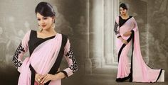 Grace Lace – YourSarista Baby Pink Saree, Grace And Lace, Unique Roses, Georgette Sarees, Pink Roses, Party Wear, Kimono Top, Sari, Bride