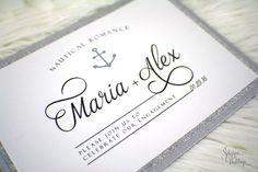 Engagement Invitations - Nautical Romance | Engagement party | Glam | Glitter | Soiree