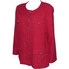 depot vente de luxe en ligne - Luxury eshop online CHANEL veste occasion rouge en tweed coton et viscose   TendanceShopping.com