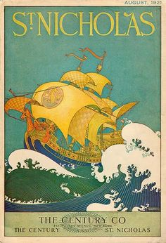 Illustration of a Ship at Sea by Maud and Miska Petersham Wall Decal Magazines For Kids, Vintage Magazines, Children's Magazines, Children's Book Illustration, Retro Illustrations, Illustration Styles, Russian Folk Art, Saint Nicholas, Poster Ads
