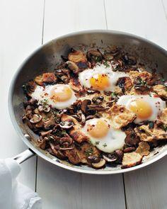 Sauteed Mushrooms with Toasted Flatbread and Baked Eggs