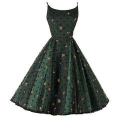Vintage 1950's Jonny Herbert Green Tulle Embroidered Dress