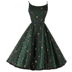 Vintage 1950's Jonny Herbert Green Tulle Embroidered Dress | From a collection of rare vintage evening dresses