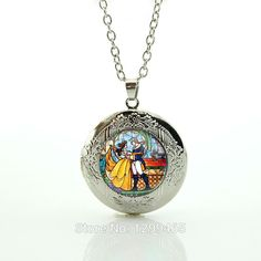 Beauty and the beast necklace beauty and the beast jewelry the kiss lover Klimt pendant Glass Cabochon locket pendant N694