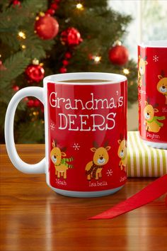 Looking for the perfect Christmas gift for the best Grandma? Look no further than this adorable little deers mug! These little prancing deers are sure to make Grandma smile. Personalized Christmas Gifts, Holiday Wishes, Christmas Decorations, Holiday Decor, Perfect Christmas Gifts, Feeling Special, Unique Gifts, Smile, Mugs