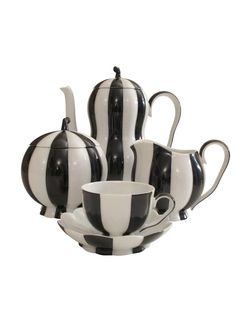 """Josef Hoffmann Hand Painted Porcelain """"Mocha Service""""   From a unique collection of antique and modern tea sets at http://www.1stdibs.com/furniture/dining-entertaining/tea-sets/"""