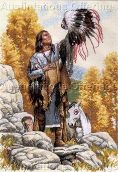 Free Native American Cross Stitch | STEVEN LANG NATIVE AMERICAN PORTRAIT CROSS STITCH KIT GREAT SPIRIT