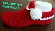 Ponponlu kırmızı patik yapımı (kolay patik yapımı,crochetslippers)