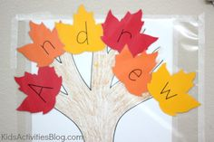 I think I will use this for vocab word & definition matching and theme it for older kids. Fall Activities For Preschoolers, Preschool Name Crafts, Preschool Fall Theme, September Preschool Themes, Autumn Activities, September Crafts, Preschool Lessons, Daycare Crafts, Preschool Learning