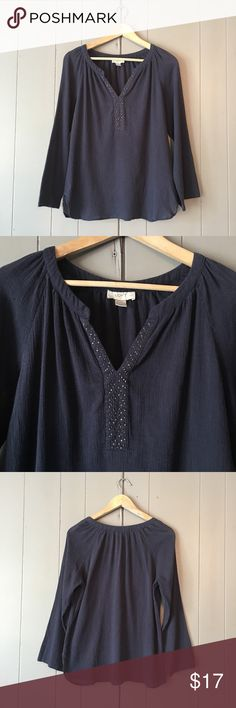 """Loft V-Neck Navy Embellished Peasant Blouse 🍃 Super cute top in good condition! Armpit to armpit is 19"""". Length is 26"""". Offer are welcome. ☺️ LOFT Tops"""