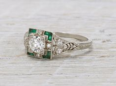 .40 CARAT DIAMOND & EMERALD ART DECO ENGAGEMENT RING CIRCA 1920 FROM ERSTWHILE