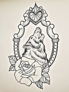 Uncolored wolf in mirror frame with rose tattoo design - Tattooimages.biz