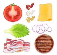 Burger Ingredients by lightgirl | GraphicRiver Homemade Stickers, Food Stickers, Food Crafts, Paper Crafts, Disney Princess Makeup, Salmon Eggs, Food Art For Kids, Kindergarten Math Worksheets, Printable Activities For Kids