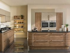 High Gloss Cappuccino and Satin Olivewood finish on our Venice style fitted kitchen.