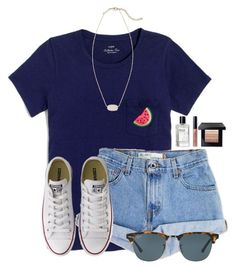 """""""Watermelon """" by flroasburn ❤ liked on Polyvore featuring J.Crew, Levi's, Ray-Ban, Converse, Bobbi Brown Cosmetics and Kendra Scott"""