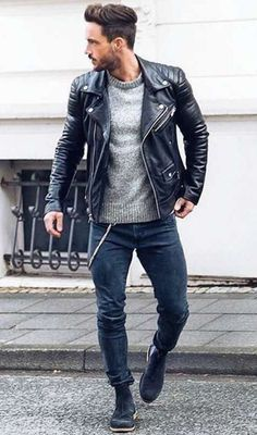 Neue Outfits, Komplette Outfits, Fashion Outfits, Leather Jacket Outfits, Men's Leather Jacket, Jacket Men, Autumn Winter Fashion, Winter Style, Fall Winter