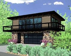Modern Garage With Apartment Above wood garage door with wood pergola - also like the wall/fence