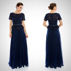 Floor Length Lace and Chiffon Navy Mother of the Bride Groom Dress                                                                                                                                                                                 More
