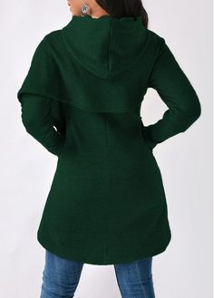 Dark Green Long Sleeve Asymmetric Hem Hoodie | Rosewe.com - USD $32.13