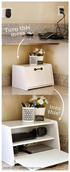 Turn an old yardsale breadbox into a charging station to hide all your cell phone and tablet chargers!