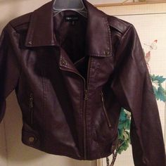 Brown/Maroon Faux Leather Jacket Never worn! Medium. Jackets & Coats