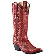 Corral Ladies Red w Tall Top Fancy Stitch Snip Toe Western Boots